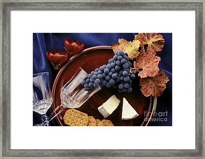 Zinfandel Grapes Brie And Crackers Framed Print by Craig Lovell
