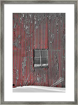 Zink Rd Barn Window Bw Red Framed Print