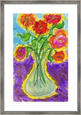Zinnias And Roses Framed Print by Tracy W Smith