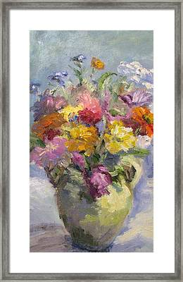 Zinnias And Wildflowers Still Life Framed Print