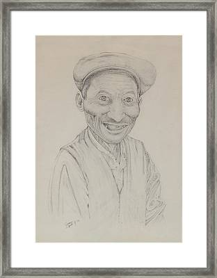 Framed Print featuring the drawing Forenza Vita Zio Michele by Giovanni Caputo