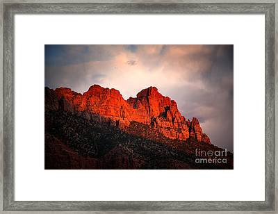 Zion At Sunset Framed Print by Jane Rix