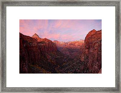 Zion Canyon At Sunset, Zion National Framed Print
