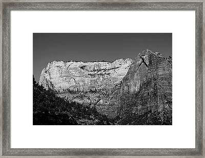 Zion Cliff And Arch B W Framed Print