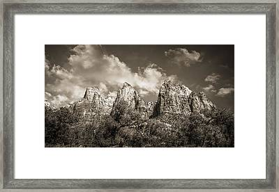 Zion Court Of The Patriarchs In Sepia Framed Print by Tammy Wetzel