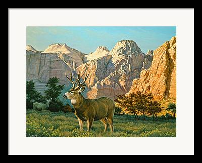 Zion National Park Paintings Framed Prints