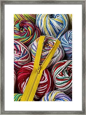 Zipper And Yarn Framed Print