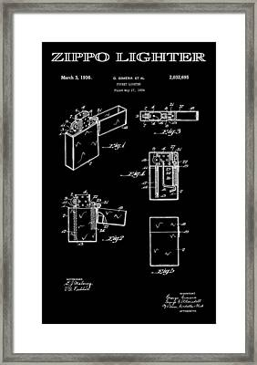 Zippo Lighter 2 Patent Art 1936 Framed Print by Daniel Hagerman