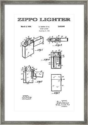 Zippo Lighter 3 Patent Art 1936 Framed Print by Daniel Hagerman