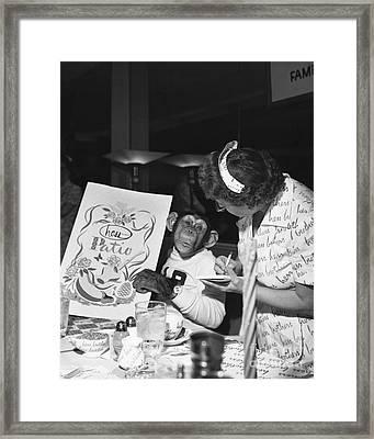 Zippy The Chimp Framed Print by Dick Hanley