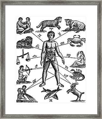 Zodiac Man Drawing Relating Astrology Framed Print