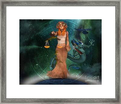 Zodiac Sign Framed Print by Jutta Maria Pusl