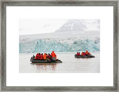 Zodiaks In Svalbard Framed Print by Ashley Cooper