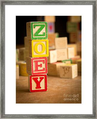 Zoey - Alphabet Blocks Framed Print by Edward Fielding
