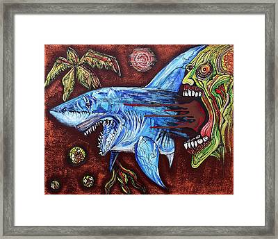Zombie Eats Shark Framed Print by Laura Barbosa