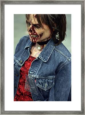 Carmen Zombie Face Framed Print
