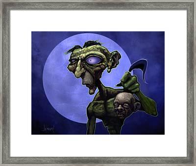 Zombie Head-hunter Framed Print by Jephyr Art
