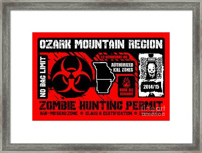 Zombie Hunting Permit Framed Print