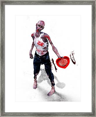 Zombie Love Framed Print by Frederico Borges