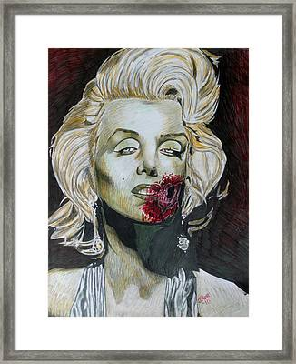 Zombie Marilyn Framed Print by Jeremy Moore