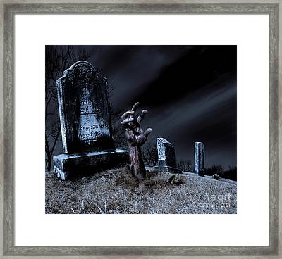 Zombie Rising From The Grave Framed Print