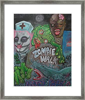 Zombie Walk Framed Print