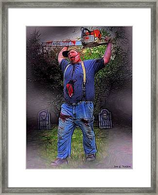 Zombie With Chainsaw  Framed Print by Jon Volden