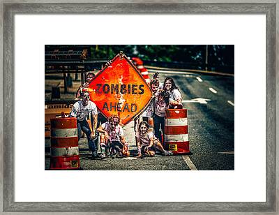 Framed Print featuring the photograph Zombies Ahead by Joshua Minso