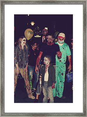 Zombies Everywhere Framed Print by Laurie Search