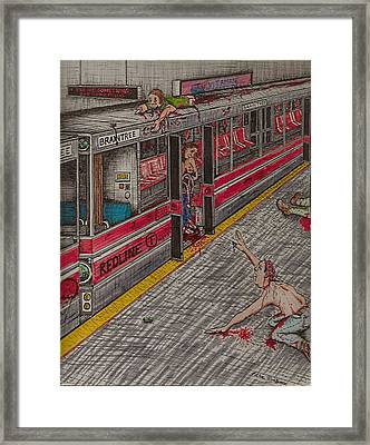 Zombies On The Red Line Framed Print