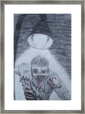 Framed Print featuring the drawing Zombified by Thomasina Durkay