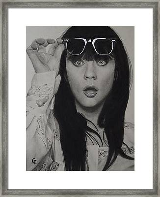 Zooey Deschanel Framed Print by Chrissy Eckman