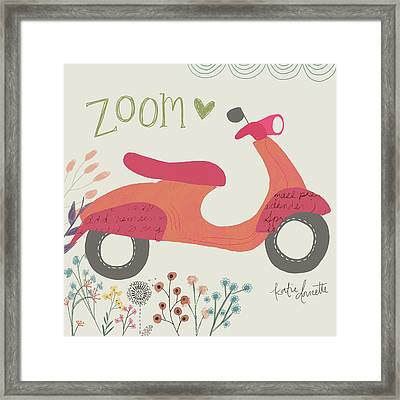 Zoom Scooter Framed Print by Katie Doucette