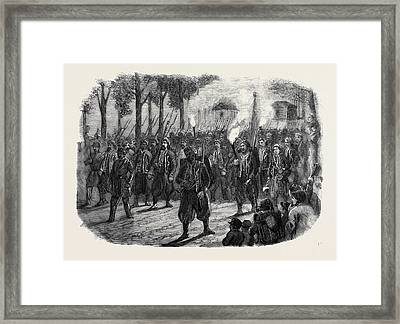 Zouaves Quitting Versailles By Torchlight Framed Print by English School