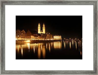 Zuerich At Night Framed Print by Marc Huebner