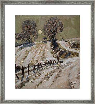 Zuid Limburg First Snow And Full Moon Framed Print