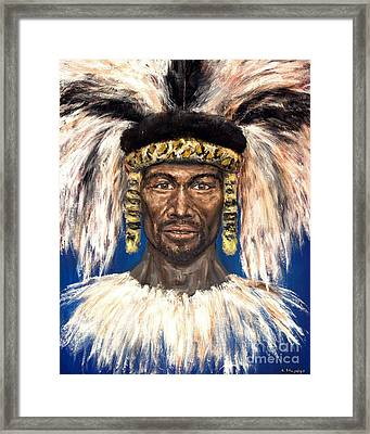 Framed Print featuring the painting Zulu Warrior by Arturas Slapsys
