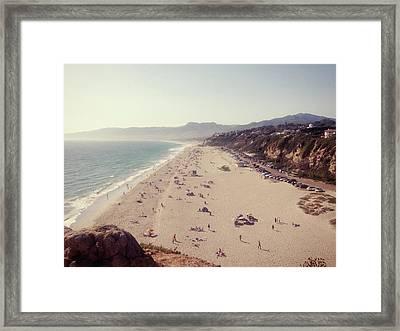 Zuma Beach At Sunset Malibu, Ca Framed Print