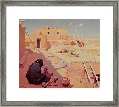 Zuni Pottery Maker Framed Print by William Robinson Leigh