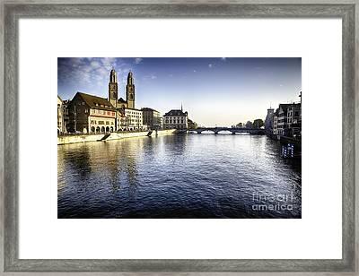 Zurich Limmat River Scenic Framed Print
