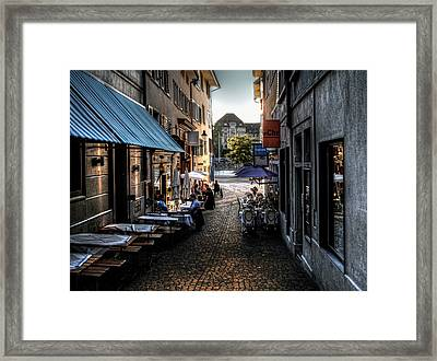 Framed Print featuring the photograph Zurich Old Town Cafe by Jim Hill