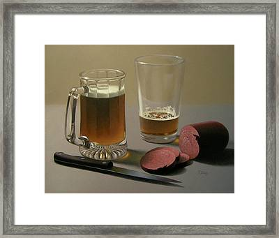 Zwei Bier Bitte Framed Print by Timothy Jones