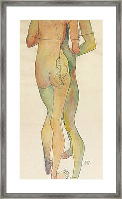 Zwei Stehende Akte Framed Print by Egon Schiele