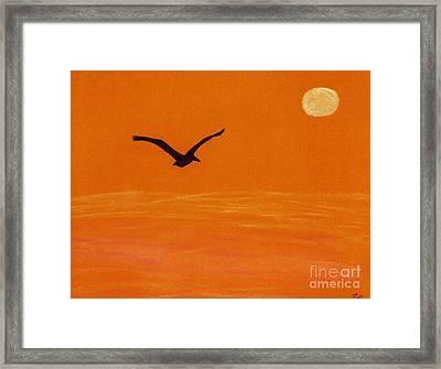 Pelican Silhouette Sunset Framed Print