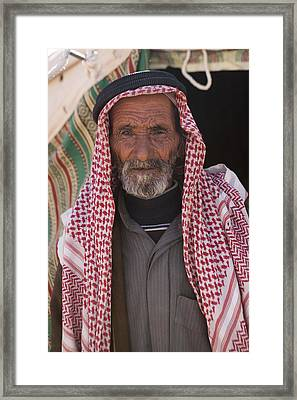 A Bedouin Man At The Camera In Front Framed Print by Taylor S. Kennedy