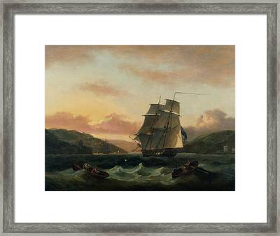 A Brigantine In Full Sail In Dartmouth Harbour Framed Print by Thomas Luny