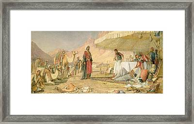A Frank Encampment In The Desert Of Mount Sinai Framed Print by John Frederick Lewis
