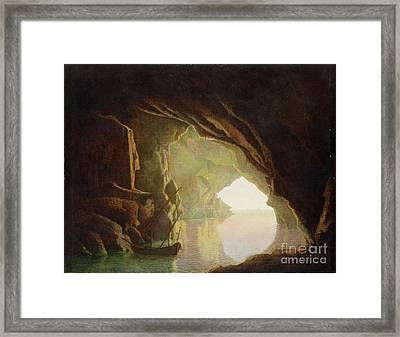 A Grotto In The Gulf Of Salerno - Sunset Framed Print by Joseph Wright of Derby