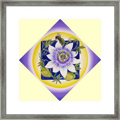 Bee And Passionflower Framed Print