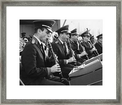 Brass Band Playing Outdoors, (b&w) Framed Print by George Marks